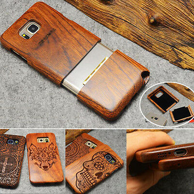 Natural Wooden Wood Bamboo Case Cover For Samsung Galaxy S9 Plus/S8/S7/Note 8/9