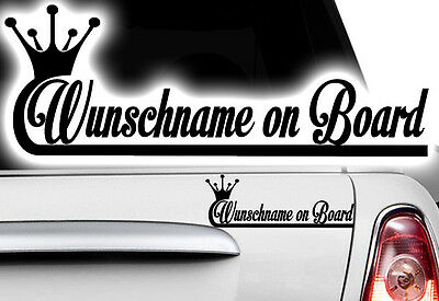 1x Aufkleber WUNSCHNAME ON BOARD Sticker Hangover Baby Auto Kind fährt mit FUNo1