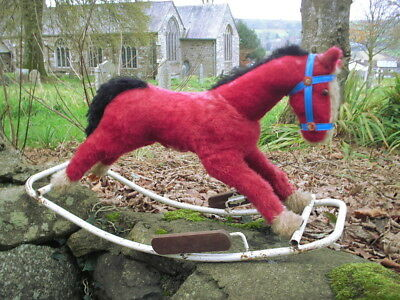 Vintage rocking horse, Lines Bros Ireland, 1950s red plush mohair rocking horse