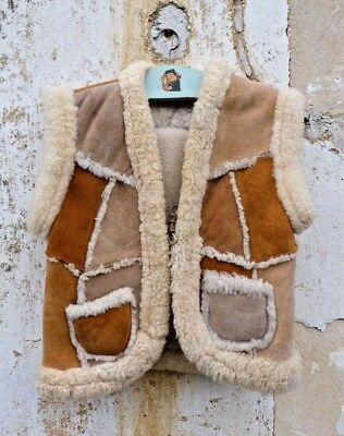 Vintage 1970s lamb fur Patchwork Hippie vest for child