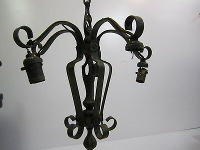 Antique Gothic, Victorian, Tudor? 5-Lamp Painted Steel, Ceiling Chandelier