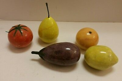 5 Pc Vintage Italian Alabaster Fruit Carved Marble Stone Tomato~Lemon~Pear~