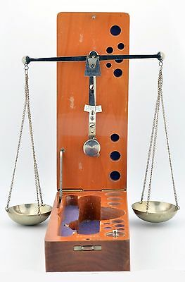 Antique Gold Balance Scale Wooden Base West Germany