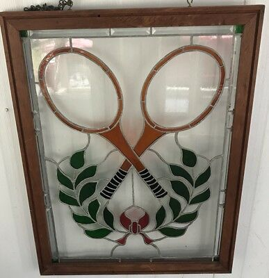 Vintage Lead Stained Glass Old Wavy Glass Tennis Motif Racquets Lovely Design