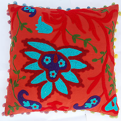 Floral Cotton Suzani Embroidery Indian Ethnic Handmade Cushion Covers 2 PCS Set