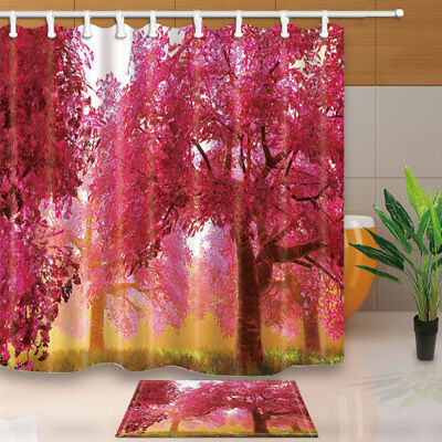 Red Forest Wild Woods Autumn Bathroom Shower Curtain Waterproof Fabric 12 Hooks