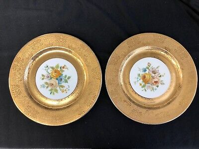 """pair 10 1/4""""  22-ct Gold Encrusted Royal Bavarian Hutschenreuther Plates flowers"""