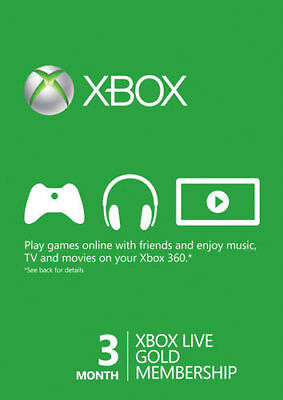 Xbox Live Gold Membership 3 Month Redemption Code Card Immediate Dispatch