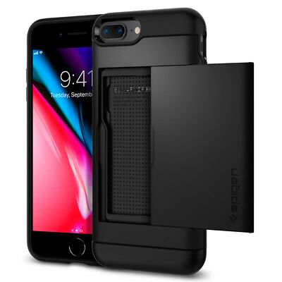iPhone 8 Plus / 7 Plus Spigen® [Slim Armor CS] Card Slot Shockproof Case Cover