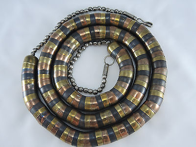 """Necklace 40"""" Long Art Deco Heavy Metal Brass Bronze Cylinder Bowl Shaped Pieces"""