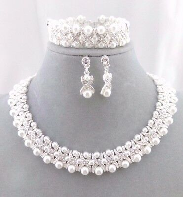 White Synthetic Pearl Collar Necklace Earrings Bracelet Set Fashion Jewelry NEW