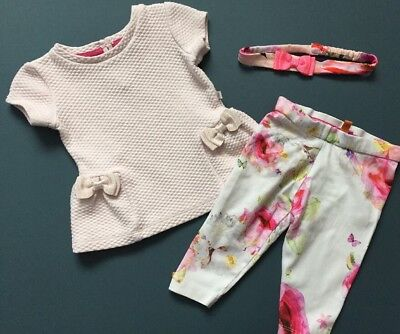 Ted Baker Outfit Set Tunic Floral Leggings And Headband Age 3-6 Months