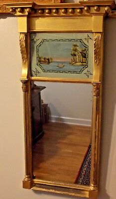 c 1800 -1850 Federal Giltwood Looking Glass