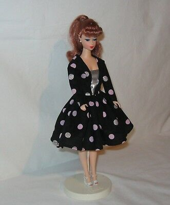 Handmade SHORT Cotton Vintage Look Black with Pink & Silver Dots Barbie Dress