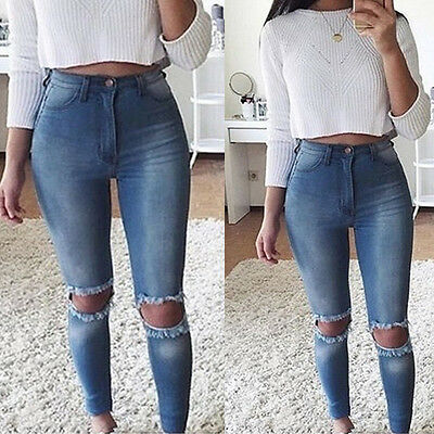 Women Denim Skinny Pants High Waist Stretch Jeans Ripped Hole Pencil Trousers
