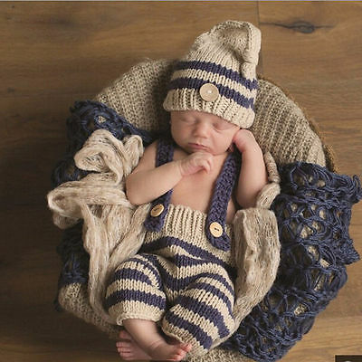 Newborn Baby Girl Boys Bib Pants+Hat Crochet Knit Photo Photography 2pcs Outfit