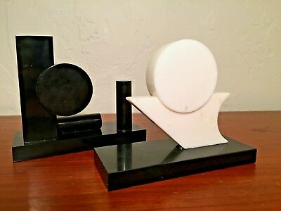 Pair of Black and White Marble Onyx Modern Sculptures Memphis Style