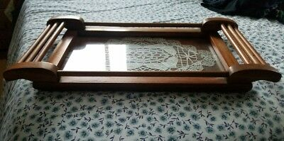 Vintage Hand Made Wood Serving Tray Glass Top Antique Lace Doily