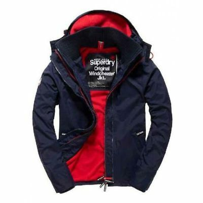 Superdry Pop Zip Hooded Arctic Windcheater Men's Jacket Navy/Red m50009znf4-mmy