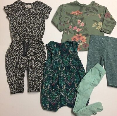 Next Bundle Outfit Corduroy Dungarees With Tight Jumper Leggings Playsuit 6-9m