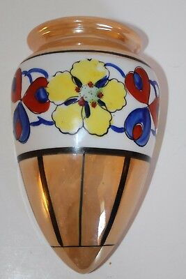 Vintage Wall Pocket Hanging Orange Vase With Flowers Design Made In Japan