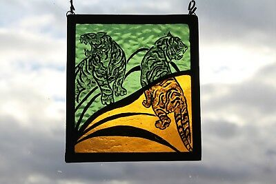 Stained Glass Painted Panel.Tigers in the Jungle Green and Orange Glass.Handmade