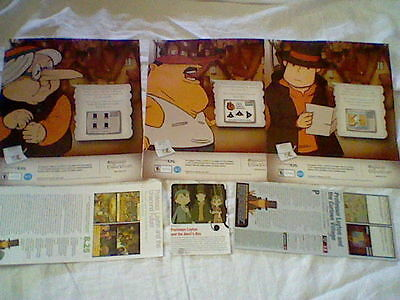 Professor Layton and the Curious Village Video game Magazine Print ad ,clips lot