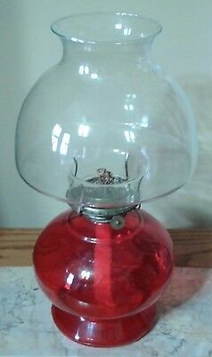 Vintage Red Ruby  Glass Oil Lamp