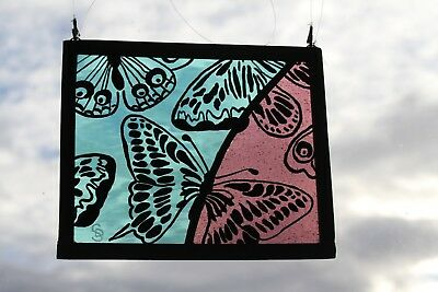Stained Glass Painted Panel. Butterflies in Flight. Blue & Purple Glass.Handmade