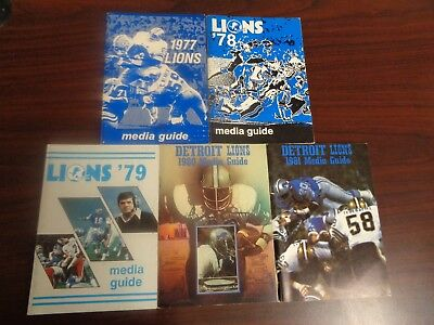 HUGE 1977 1978 1979 1980 1981 Detroit Lions Media Guide Collection Lot