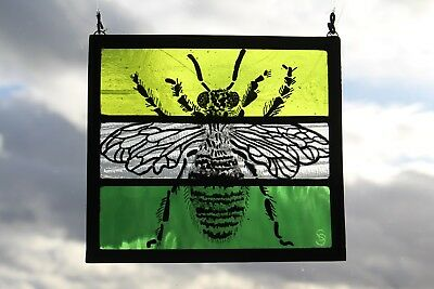 Stained Glass Painted Panel. Bumble Bee or Honey Bee. Green Glass. Handmade