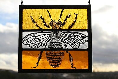 Stained Glass Painted Panel. Bumble Bee or Honey Bee. Orange Glass. Handmade