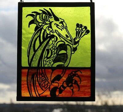 Stained Glass Painted Panel. Dragon on Fiery Red and Green Glass. Handmade