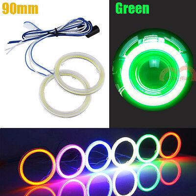 2pcs Car 90mm Green Angel Eyes Cob LED Halo Ring Lights Motorcycle Warning Lamps