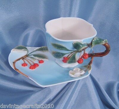 """""""Two's Company"""" Cherries Cup & Saucer Garden Party Tea Set"""