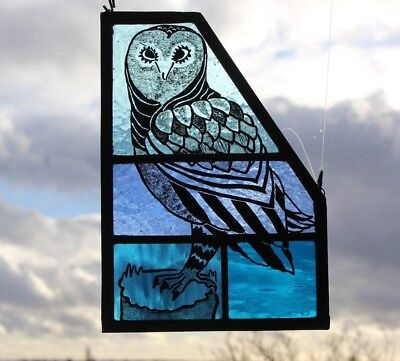 Stained Glass Owl on Beautiful Shaded Textured Blue Glass. Owl Lover Gift