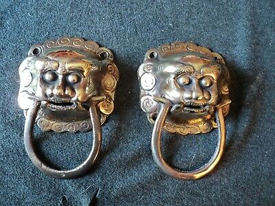 chinese brass fu dog lion door knocers 2 in lot matching pair