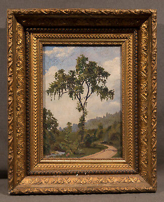 "Beautiful Early 20th Century Oil Painting ""Tree and Walkway Through Garden Park"""