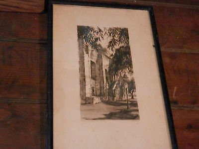 """SAN GABRIEL MISSION"" A Signed Ltd. Orig. Etching By W.A. ESKEY"