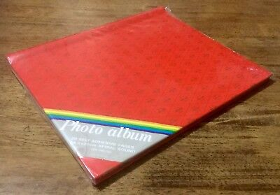 Retro Red & Gold New Still Sealed Vintage 20 Page Self Adhesive Photo Album Book