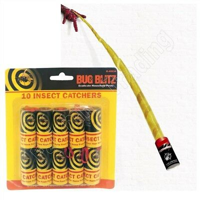 10 Pack Insect Fly Catchers Tape Strip Killer Pest Bug Wasp Window Poison Free