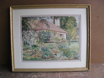 Vintage  Framed Watercolor Painting Listed Artist Simon Hodge Florida House