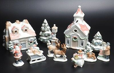 1985 Fitz And Floyd Christmas Candle Houses And Figurines