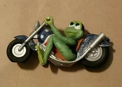 Harley Davidson Motorcycle with Frog Red, White and Blue Chopper