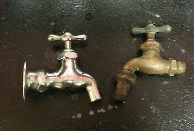 2 Antique Brass & Nickel Plated Water Spicket Faucet Vintage Fixture