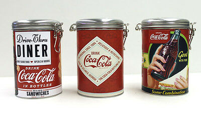 Lot of 3 Coca Cola Coke round Lock Top canister gift party favors candy Tins Set
