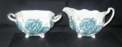 Johnson Bros English Chippendale Blue Creamer & Sugar Set Excellent Condition