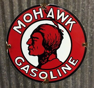 Mohawk gasoline porcelain sign oil gas pump vintage lubester lube rack plate