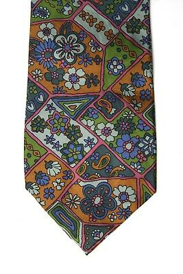 Kenzo Paris Made in Italy Silk Mens Tie Multicolour RARE Abstract Vintage 80s