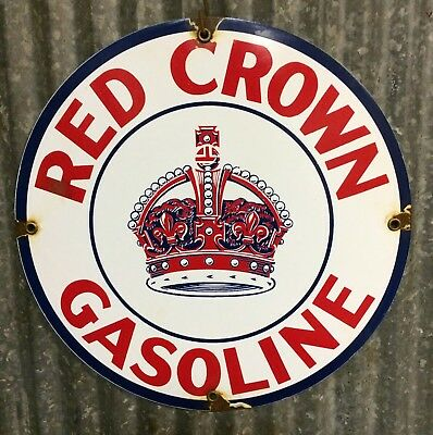 Red Crown Gasoline Porcelain Sign Vintage Oil Gas Pump Lubester Lube Rack Plate